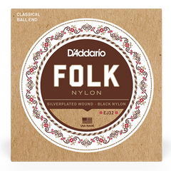 D`ADDARIO EJ32 FOLK NYLON Ball End Silver Wound / Black Treble